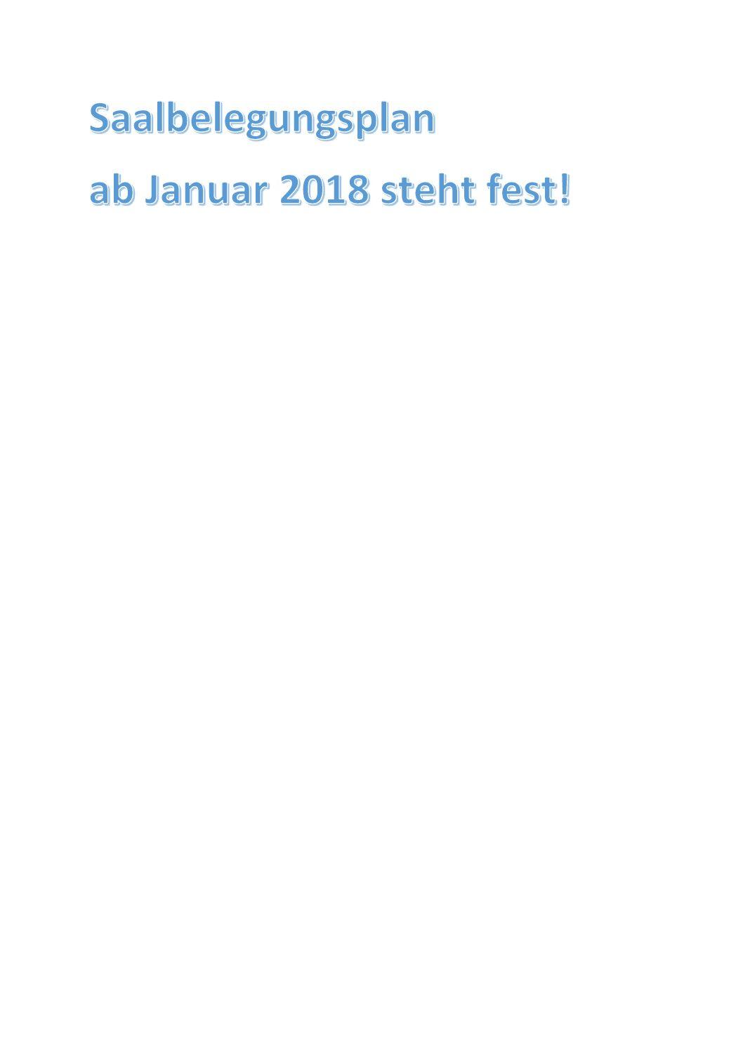 Neue Saalbelegung für 2018 steht fest!