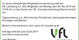 VfL Mitgliederversammlung Montag 06.Mai 2019